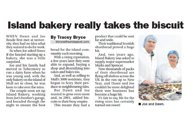 Sunday Post features Island Bakery